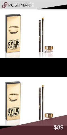 """NIP/Happy 19th Birthday KYLINER KIT/DARK BRONZE KYLINER Kit Dark Bronze/Part of Kylie's 19th B-DAY Collection/KYLINER/kit has/1-Cream Gel eyeliner/1-Pencil EyeLiner/1-Full size synthetic small angled brush/combines perfect shades/textures/& tools, 2 create/defined/sultry""""Kylie eye"""". In Dark Bronze,shimmering deep brown, w real gold 2 honor Kylie's 19th B-Day/SOLD in LIMITED EDITION GOLD PACKAGING. Ultra-long wearing crème gel eyeliner/creamy texture/easy to apply/sets up-4 all-day wear w/o…"""