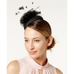 August Hats Embellished Fascinator ($54) ❤ liked on Polyvore featuring accessories, hair accessories, black, party headbands, hair band accessories, thin headbands, fascinator headband hat and hair fascinators