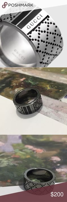 Gucci Diamantissima Wide Ring Gorgeous patterned gunmetal sterling silver band with spellout logo inside and outside the band! Made as a mens ring but easily unisex! This ring has never been worn but has some light marka inside the band as pictured. Gucci Jewelry Rings