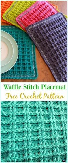 Double Waffle Stitch Placemat - Pattern and Instructions included Crochet Placemat Patterns, Crochet Dishcloths, Crochet Stitches Patterns, Tunisian Crochet, Filet Crochet, Knitting Patterns, Crochet Gratis, Crochet Diy, Love Crochet