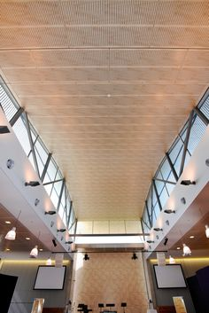 The New Life Anglican Church at Oran Park in NSW. The curved ceiling is lined with acoustic slotted panels and follows the line of the roof. The effect reminiscent of a vaulted nave ceiling of a traditional church. Photos JadaArt