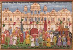 Indian-Ethnic-Rajasthan-Miniature-Painting-Royal-Emperor-Procession-Folk-Artwork-200775031879-2