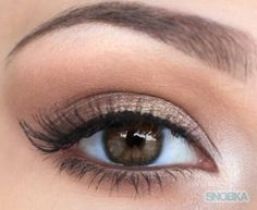 Create subtle  pretty eye make up by using light eyeliner and neutral colors with subtle shimmer. Finish with some mascara.