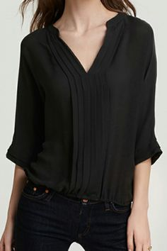 ROMWE | ROMWE V-neck Crop Sleeve Pleated Black Chiffon Blouse, The Latest Street Fashion