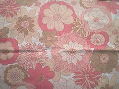 Vintage 1970s Poly-Cotton Fabric Retro St Michael Pink Daisy Design | eBay