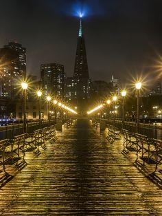 the Transamerica Building Night View from  Pier 7  San Francisco California via flickr