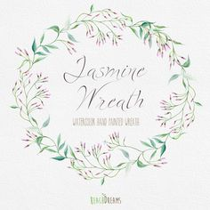 Watercolor Wreath Jasmine Flower. Individual PNG by ReachDreams
