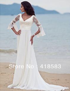 Genial vestido de novia para la boda en la playa!