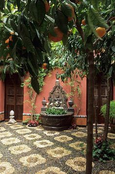 Cordoba, Andalucía, Spain. Patio with mosaic. http://www.costatropicalevents.com/en/costa-tropical-events/andalusia/cities/cordoba.html