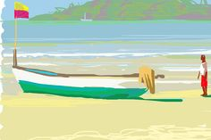 """Boat (Goa), by Brendan Kelly - """"The iPhone really allows you to play with colour, keeping the spontaneity of the drawing.""""     You can see more of Brendan's work on his site, brendankellyartist.co.uk"""