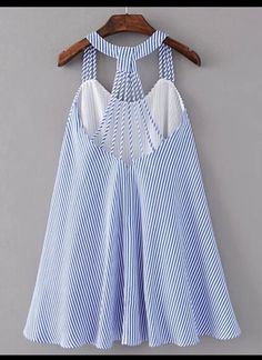 Shop Strappy Pinstripe Open Back Tent Dress online. SheIn offers Strappy Pinstripe Open Back Tent Dress & more to fit your fashionable needs. Baby Girl Dress Patterns, Baby Dress, Kids Outfits, Summer Outfits, Cute Outfits, Kids Fashion, Fashion Outfits, Dress Fashion, Fashion Trends