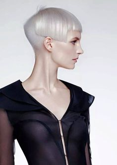 White geometric haircut