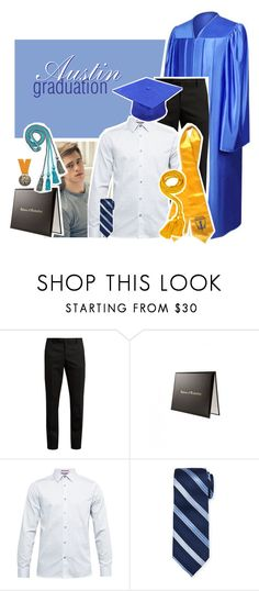 """graduation - a.m"" by refplayitback on Polyvore featuring Yves Saint Laurent, Ted Baker, Neiman Marcus, men's fashion and menswear"