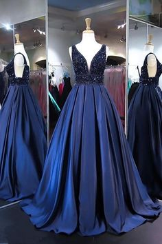 Ball Gown V Neck Satin Long Prom Evening Dresses With Beading PG525 #longpromdresses