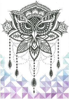 Ornate Owl - Hand inked and coloured by Jolene-eSousa.deviantart.com on @DeviantArt