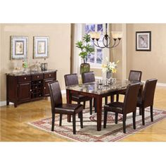 @Overstock - This elegant dining set is sure to transform your dining room. Affordable yet classy, the faux leather and marble of this beautiful dining set will impress family and friends for years.http://www.overstock.com/Home-Garden/Radian-Faux-Emperor-Dark-Brown-Marble-7-Piece-Dining-Set-with-Brown-Chair/6793599/product.html?CID=214117 $749.99