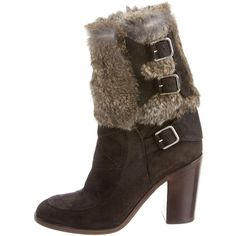 Pre-owned Laurence Dacade Fur Trimmed Ankle Boots (3.520 HRK) ❤ liked on Polyvore featuring shoes, boots, ankle booties, brown, brown boots, block heel ankle boots, brown bootie, short suede boots and brown suede booties
