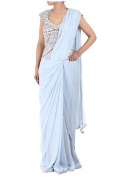 Periwinkle Chiffon Half-Saree #PrestitchedSaree | Shop this at: http://www.inanna.co.in/sarees/ready_made_sarees/periwinkle_saree
