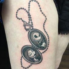 Nightmare Before Christmas Tattoo on Women Thigh
