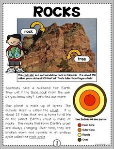 """Sample page from """"Rock Stars!"""" (A Nonfiction SMARTICLE About Rocks for Grades 2-3) This download includes vivid text features, informational text, and written response sheets to develop comprehension through close reading. (9 pages, $) #rocks #earth"""