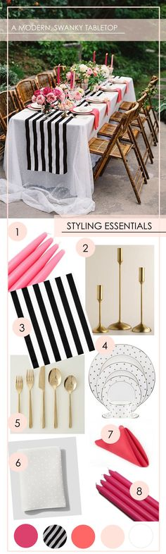 Get the Look: A Modern + Swanky Tabletop - www.theperfectpalette.com - Shades of Pink + Black and White Stripes (scheduled via http://www.tailwindapp.com?utm_source=pinterest&utm_medium=twpin&utm_content=post1386171&utm_campaign=scheduler_attribution)