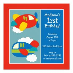 First Birthday Party Invitations Boys Airplanes