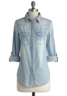 Whidbey Island Top in Daybreak - Cotton, Woven, Mid-length, Denim, Blue, Solid, Buttons, Pockets, Casual, Long Sleeve, Good, Blue, Tab Sleev...