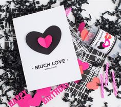 Much Love heart birthday bash greeting card by Idieh Design. Make It Now with the Cricut Explore machine in Cricut Design Space.