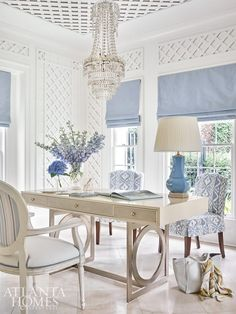 The lady's parlor doubles as a home office with a Bernhardt desk and slipcover chairs featuring an eye-catching Cowtan & Tout fabric. Home Office Space, Home Office Design, Home Office Furniture, Home Office Decor, Desk Space, Office Ideas, Feminine Office Decor, Office Designs, Bar Furniture