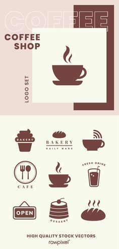 Download these amazing royalty-free coffee shop logo set as well as images, psd, vectors, and illustrations at rawpixel.com Cofee Shop, Coffee Shop Menu, Coffee Logo, Creative Logo, Creative Design, Creative Things, Logo Psd, Bakery Logo, Shop Icon