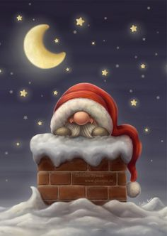 Little Santa on his way down the chimney to put presents under the Christmas tree. Art (c) Caroline Nyman Size: x Gender: unisex. Christmas Gnome, Father Christmas, Christmas Art, Vintage Christmas, Christmas Holidays, Christmas Decorations, Christmas Ornaments, Nordic Christmas, Christmas Tables
