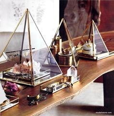 The Pyramid Display Boxes offer an unusual and striking option for presenting jewelry and othe rprecious items. The three sizes - Medium, Large, Jumbo are sold individually. All items feature delicate brass edges. The pyramids have a clear glass base. Display Boxes, Display Shelves, Display Ideas, Jewellery Storage, Jewellery Display, Jewellery Diy, Geometric Box, Antique Iron, Home Decor Online