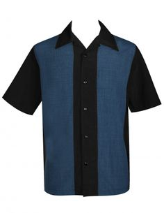 BLUES~Are you cool enough to wear this shirt? Okay, silly question, of course you are. But expect compliments when you wear it, thanks to its all black back and cool black and navy front panels.~-- Black Shirt with Navy Panels -- Soft Light Weight 100% PopCheck Polyester -- Full Button ; Side Vents -- Machine Washable ; Made in USA  http://www.bowlingconcepts.com/mens-bowling-shirts/retro-bowling-shirts/blues