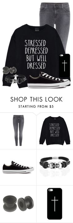 """""""Stressed, Depressed, but Well Dressed"""" by xx-beautifully-insane-xx ❤ liked on Polyvore featuring J Brand, Converse, Bling Jewelry and Casetify"""