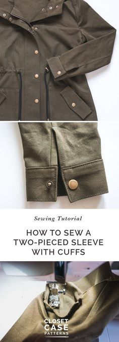 Setting in Sleeves & Cuffs (Unlined Version) // Kelly Anorak Sewalong Sewing Blogs, Sewing Hacks, Sewing Tutorials, Sewing Tips, Sewing Projects, Sewing Patterns, Sewing Coat, Sewing Clothes, Sewing School