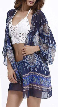 9c303634ff03 Uniquestyle Damen Sommer Boho Chiffon Kimono Stil Gedruckt Tops Jacke  Cardigan Blusen Beachwear(One Size