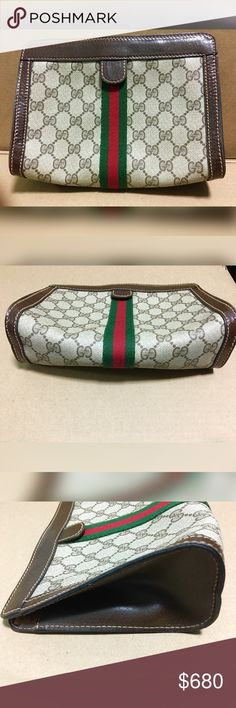62c0b1b5a065 Spotted while shopping on Poshmark: Vintage Gucci Parfums Supreme Canvas  Clutch - Vtg! #