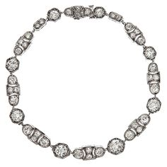 Art Deco Elegant Diamond & Platinum Unique Tennis Bracelet | From a unique collection of vintage tennis bracelets at https://www.1stdibs.com/jewelry/bracelets/tennis-bracelets/