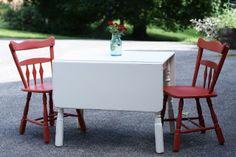 Primitive & Proper: Vintage Red and White Kitchen Dining Set