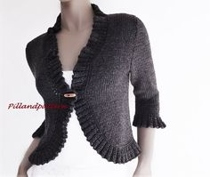 Womens Knitted Bolero Ruffled Borders Cardigan Knitting Pattern Knit Sweater Instant Download PDF Knitting Pattern. Hand knit sweater. Can be ordered ready made as well, with custom measures and colors. THIS IS NOT READY MADE ITEM! It is KNITTING PATTERN! AVAILABLE ONLY in ENGLISH!