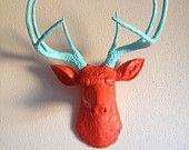 Silver Deer Head Wall Mount. $145.00, via Etsy.