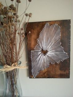 Show off your Maine love with this rustic string art sign. Heart goes where your heart is...hometown, birthplace, study abroad location,