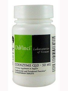 Davinci Labs - CoEnzyme Q10 50 mg 30 tabs by Unknown. $33.64. CoEnzyme Q10 50 mg 30 tabs A Dietary Supplement Supplement Facts Serving Size: 1 tablet Servings Per Container: 30 Amount Per Serving: Coenzyme Q10 (Ubiquinone) 50 mg Other ingredients: xylitol, calcium carbonate, cellulose, vegetable stearate, silicon dioxide. Suggested Use: As a dietary supplement, chew 1 tablet daily with a meal or as directed by a health care practitioner. For maximum assimilation,...