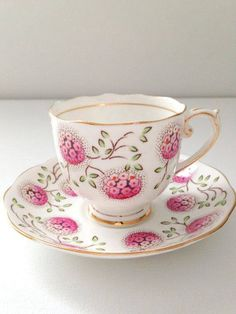 Pink Flowered Teacup and Saucer