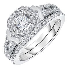 White Gold Diamond Engagement Ring 080 CT In Size 6 ** You can find more details by visiting the image link. (This is an affiliate link) Engagement Sets, Best Engagement Rings, Engagement Jewelry, Engagement Ring Settings, Vintage Engagement Rings, Wedding Necklace Set, Wedding Bracelet, Marriage Jewellery Set, Vintage Wedding Jewelry