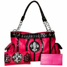 Western Rhinestone Fleur De Lis Shoulder Handbag Purse with Matching Wallet