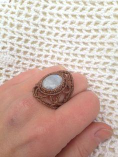 Blue light moonstone macrame ring Gem stone ring Rainbow moonstone Angel ring