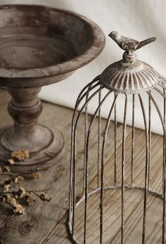Songbird Sanctuary - Antique Metal Pedestal with Cage! Cage Deco, The Caged Bird Sings, Estilo Country, Save On Crafts, Bird Cages, French Country Style, Antique Metal, Diy Garden Decor, Bird Houses