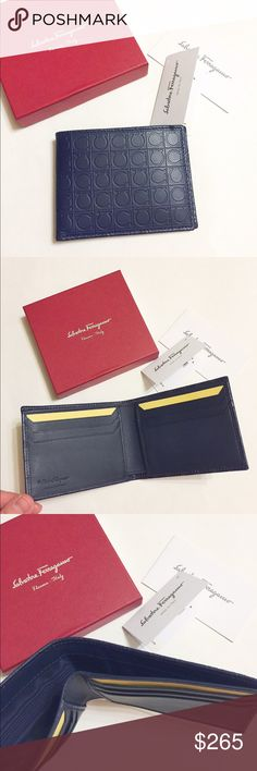 NWT Auth Ferragamo men's leather billfold wallet Brand new with tag and box!!! 100% authentic! Include tag, authenticity care card, box like in pics. Color: navy. Beautiful Ferragamo logo pattern. Leather.                                                       ❌no trade ❌no lowballing offers!!! Ferragamo Bags Wallets