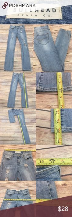 🍭Sz 1 Bullhead Low Rise Distressed Skinny  Jeans Measurements are in photos. Normal wash wear, has a stain on the bottom right pant leg, no other flaws.   I do not comment to my buyers after purchases, do to their privacy. If you would like any reassurance after your purchase that I did receive your order, please feel free to comment on the listing and I will promptly respond. I ship everyday and I always package safely. Thanks! Bullhead Jeans Skinny